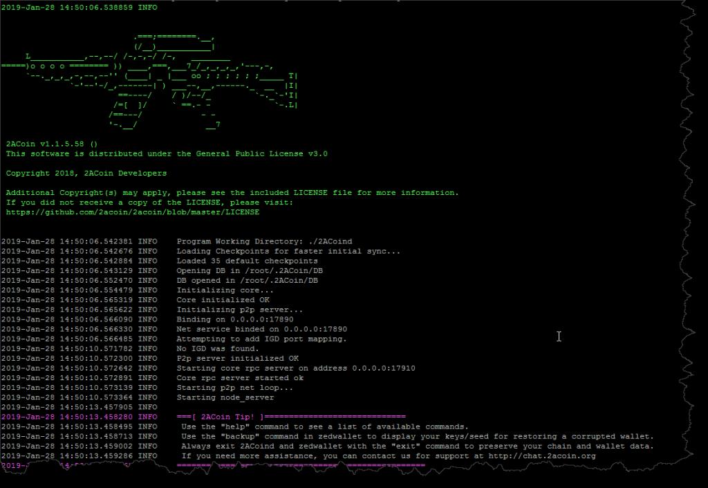 2ACoin v1.1.5 Startup Screen